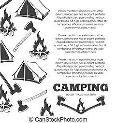kamperen, poster, met, vuur, assen, tentje