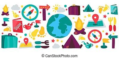 kamperen, set, plat, reizen, illustraties