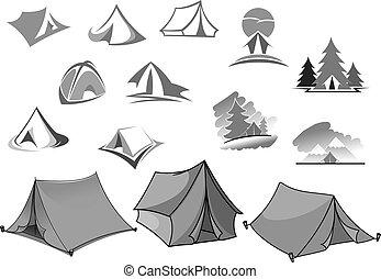 kamperen, vector, iconen, van, kamp, tentje, in, bos