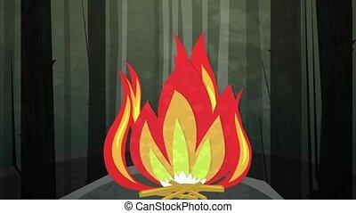 kamperen vuur, nacht, lus, hd