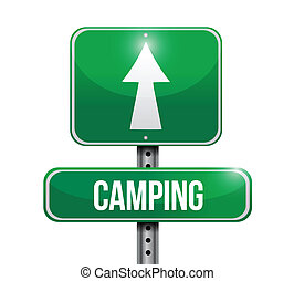 kamperen, wegaanduiding, illustratie, ontwerp