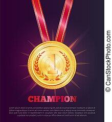 kampioen, poster, illustratie, staal, vector, tekst