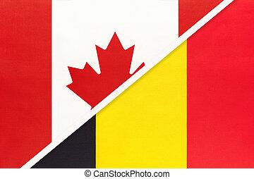 kampioenschap, belgie, nationale, textile., canada, symbool, twee, countries., vlaggen, tussen