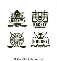 kampioenschap, bond, hockey, verzameling, logo