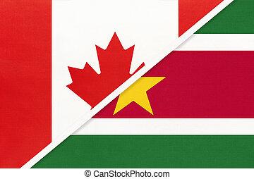 kampioenschap, suriname, nationale, textile., canada, symbool, twee, countries., vlaggen, amerikaan, tussen