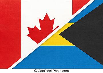 kampioenschap, textile., nationale, canada, bahamas, symbool, twee, countries., vlaggen, amerikaan, tussen