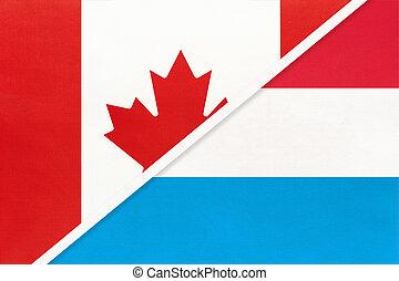 kampioenschap, textile., nationale, canada, symbool, luxembourg, twee, countries., vlaggen, tussen