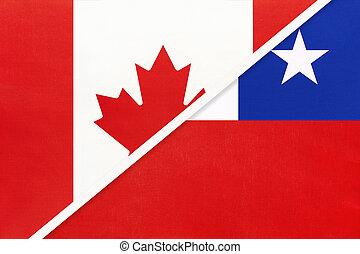 kampioenschap, textile., nationale, canada, symbool, twee, countries., chili, vlaggen, amerikaan, tussen