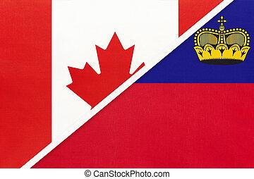 kampioenschap, textile., nationale, canada, symbool, twee, countries., liechtenstein, vlaggen, tussen