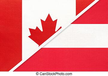 kampioenschap, textile., nationale, canada, symbool, twee, countries., oostenrijk, vlaggen, tussen