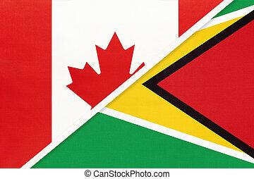 kampioenschap, textile., nationale, guyana, canada, symbool, twee, countries., vlaggen, amerikaan, tussen