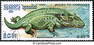 KAMPUCHEA - CIRCA 1986: A stamp printed by Kampuchea shows Mastodonsaurus, series devoted to prehistoric animals, circa 1986