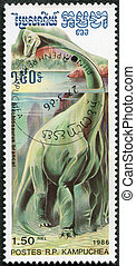 KAMPUCHEA - CIRCA 1986: A stamp printed by Kampuchea shows Brachiosaurus, series devoted to prehistoric animals, circa 1986