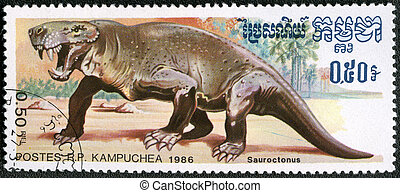 KAMPUCHEA - CIRCA 1986: A stamp printed by Kampuchea shows Sauroctonus, series devoted to prehistoric animals, circa 1986