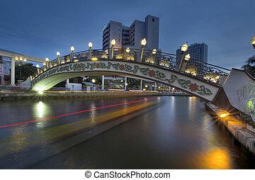 Kampung Morten Bridge Over Melaka River in Malacca Malaysia at Blue Hour