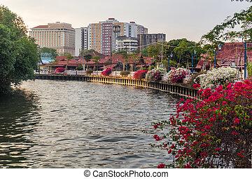 Kampung Morten village and the Malacca River in Malacca (Melaka), Malaysia