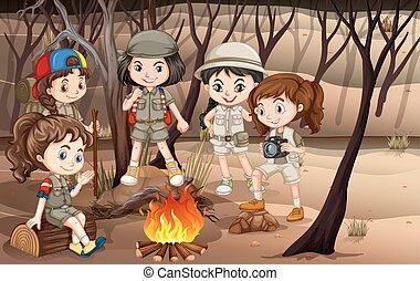 kampvuur, cirkel, hout, ongeveer, kinderen