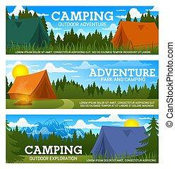kampvuur, tentjes, kamp, bomen, bos, berg