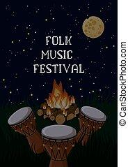 kampvuur, text., folk-music, ethnische , poster, mal,...