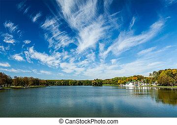 Kamsamolskaje Voziera artificial lake with blue sky in Minsk, Belarus