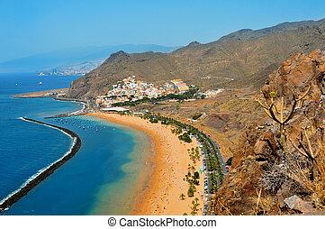 kanári, spanyolország, tenerife, tengerpart, sziget, teresitas