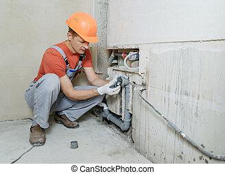 kanał ściekowy, pracownik, instalowanie, pipes.