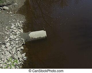 kanał ściekowy, rzeka, rura