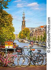 kanał, amsterdam, prinsengracht
