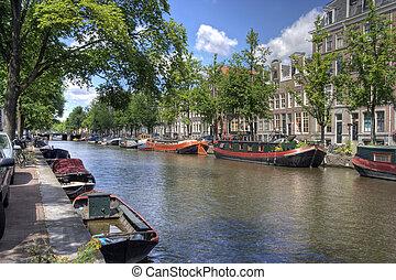 kanał, amsterdam, spokojny