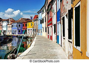 kanał, burano, włochy, barwny, wenecja, wyspa, domy