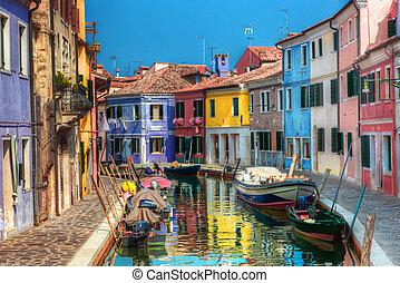 kanał, burano, wyspa, barwny, wenecja, italy., domy