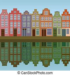 kanał, domy, amsterdam