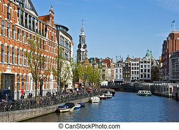 kanały, w, amsterdam., typowy, amsterdam, architecture., ruchomy kwiat, market., miejski, przestrzeń, w, przedimek określony przed rzeczownikami, spring.