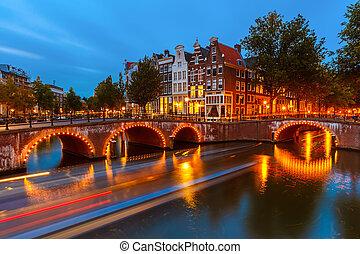 kanały, w, amsterdam