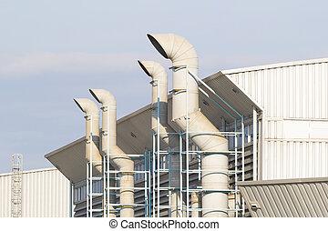 kanaal, fabriek, lucht