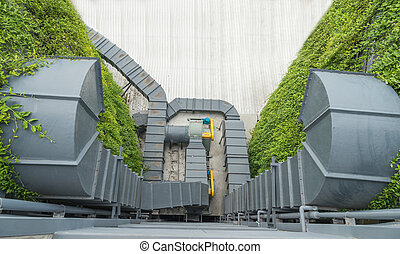 kanaal, ventilatie, lucht, fabriek, systeem