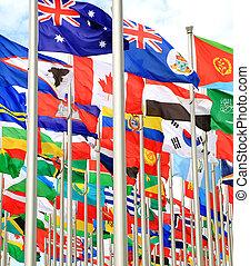 kanada, és, világ, nemzeti, zászlók