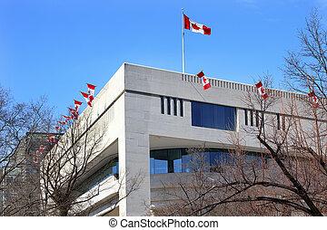kanada, bandery, ambasada, pensylwania, ave, waszyngton dc