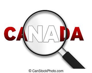 kanada, barometr, -, zvetšovací sklo