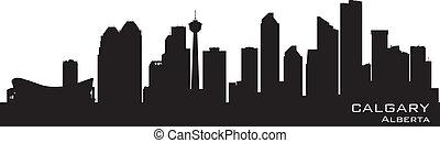 kanada, calgary, detaljerad, silhuett, skyline.
