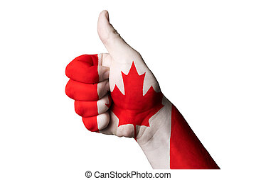 kanada, daumen, national, auf, fahne, vorzüglichkeit, gebärde, erreichen