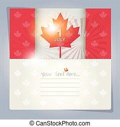 kanada, eller, bakgrund, dag, kort, lycklig