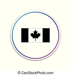 kanada, elszigetelt, ábra, button., háttér., lobogó, vektor, white körbejár, ikon