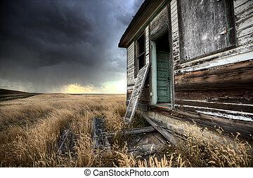 kanada, farmház, elhagyatott, saskatchewan
