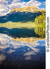 kanada, góra, odbicie, jezioro, woda, skala, szmaragd