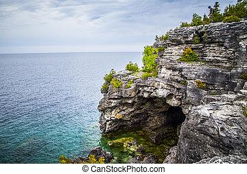 kanada, groß, ontario, grotte, landschaftlich, georgian,...