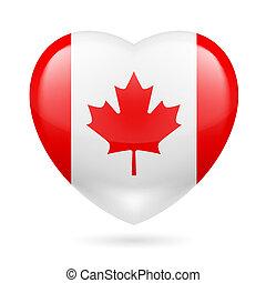 kanada, hjärta, ikon