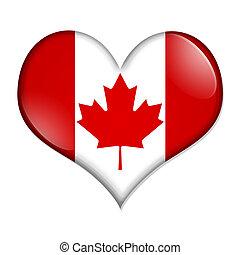 kanada, hjärta, knapp, kärlek, format