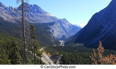 kanada, icefields, felsig, durch, landstraße, berge