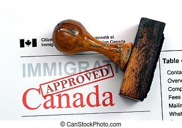 kanada, -, invandring, godkänd